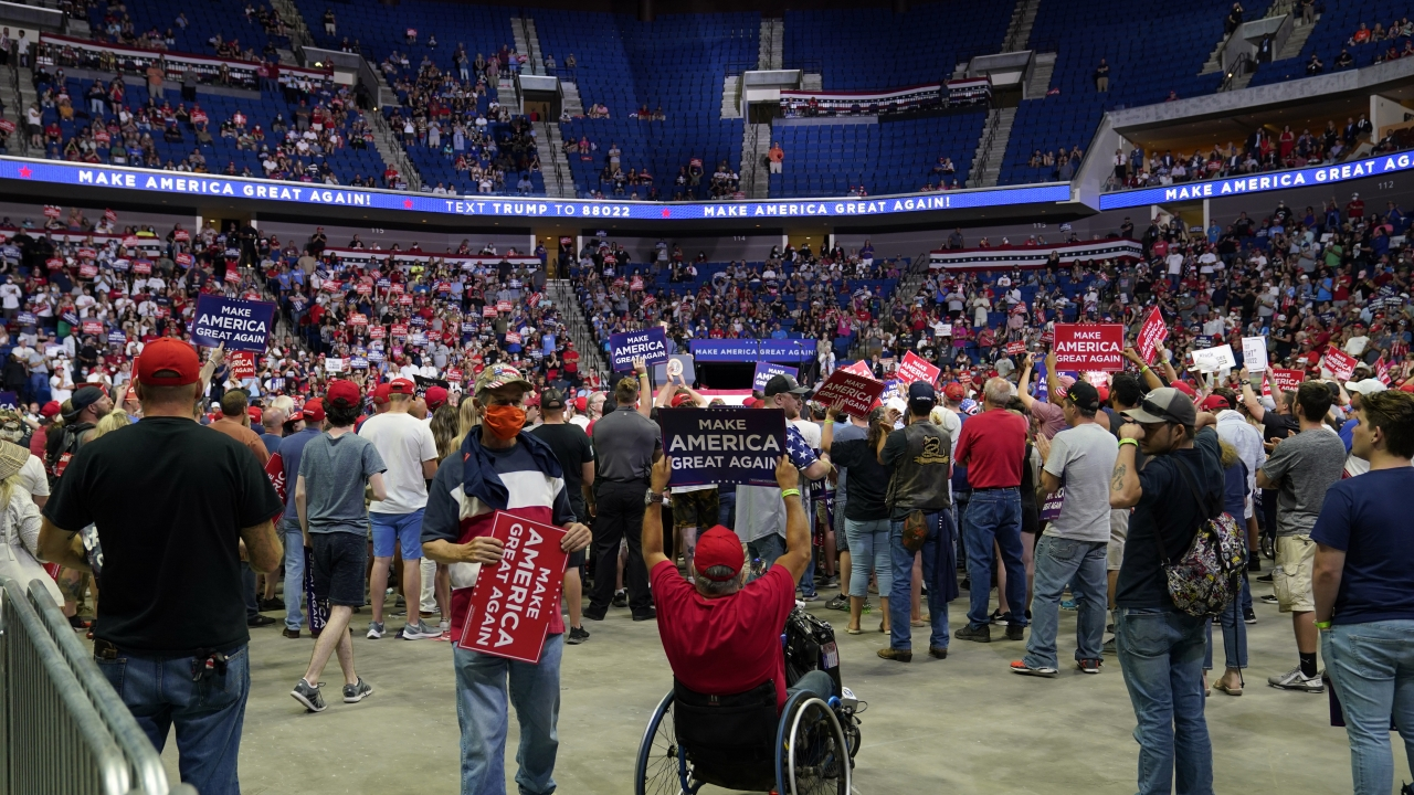 Crowd at BOK Center for President Trump's rally in Tulsa, Oklahoma.