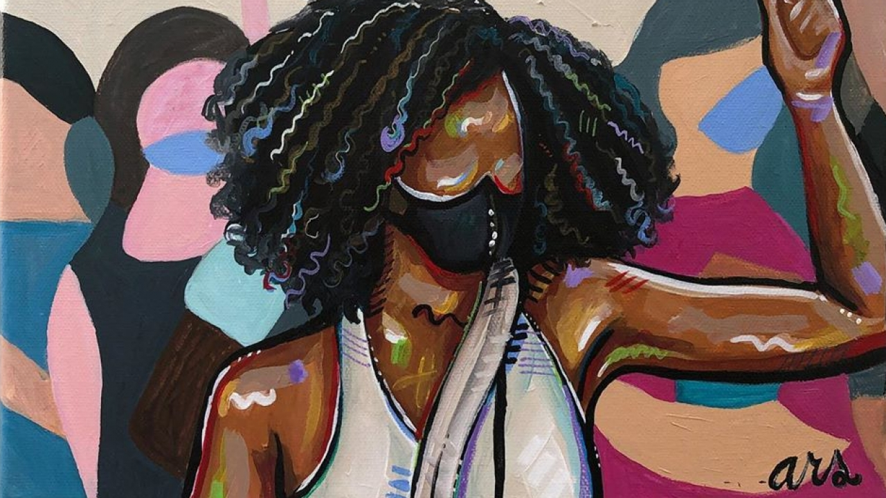 Painting depicting woman at Black Lives Matter protest