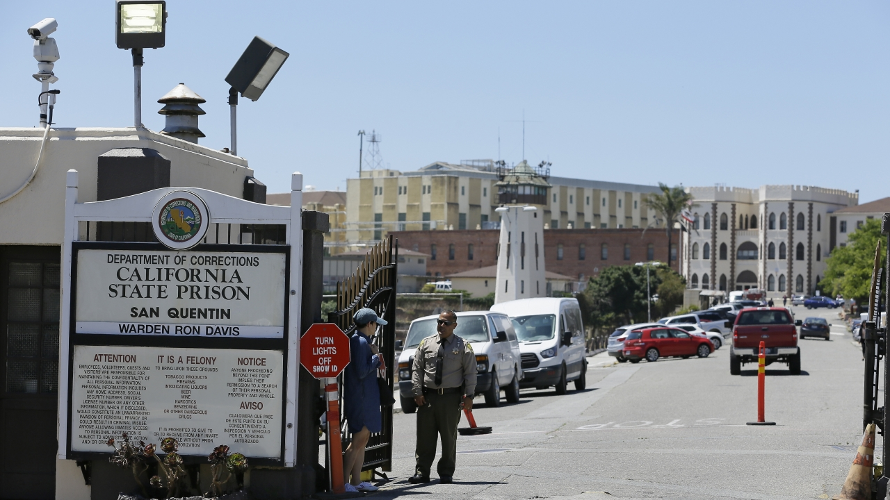 Corrections Officer at man entry to California's San Quentin State Prison.