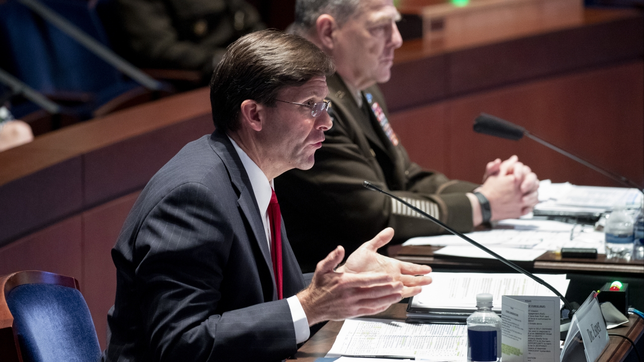 Defense Secretary Mark Esper testifies during a House Armed Services Committee hearing
