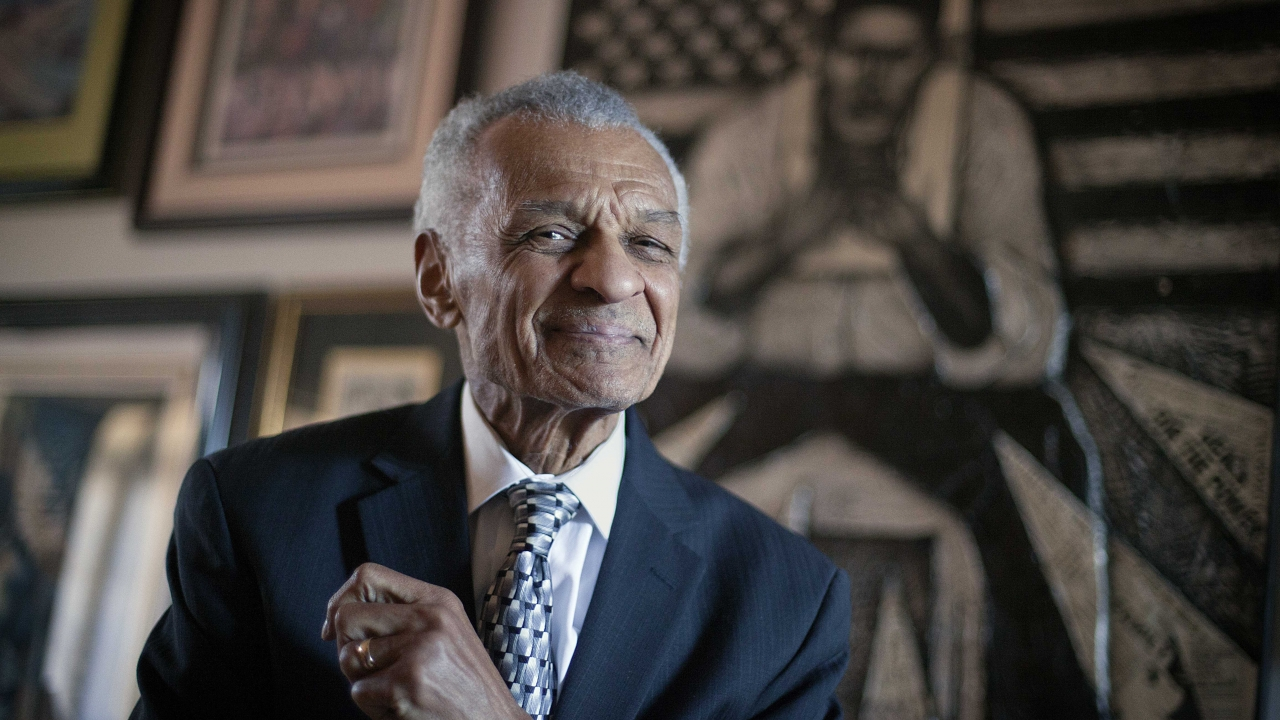 Civil rights activist C.T. Vivian poses in his home in Atlanta on Jan. 4, 2012