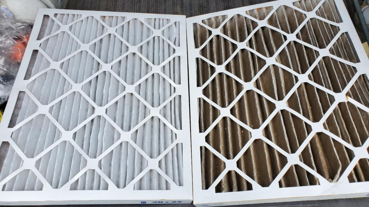 New clean air filter next to dirty air filter