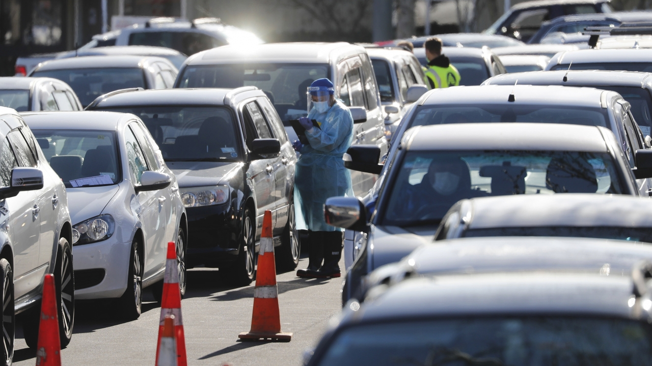 Cars queue at a COVID-19 test centre in Auckland, New Zealand, Thursday, Aug. 13, 2020