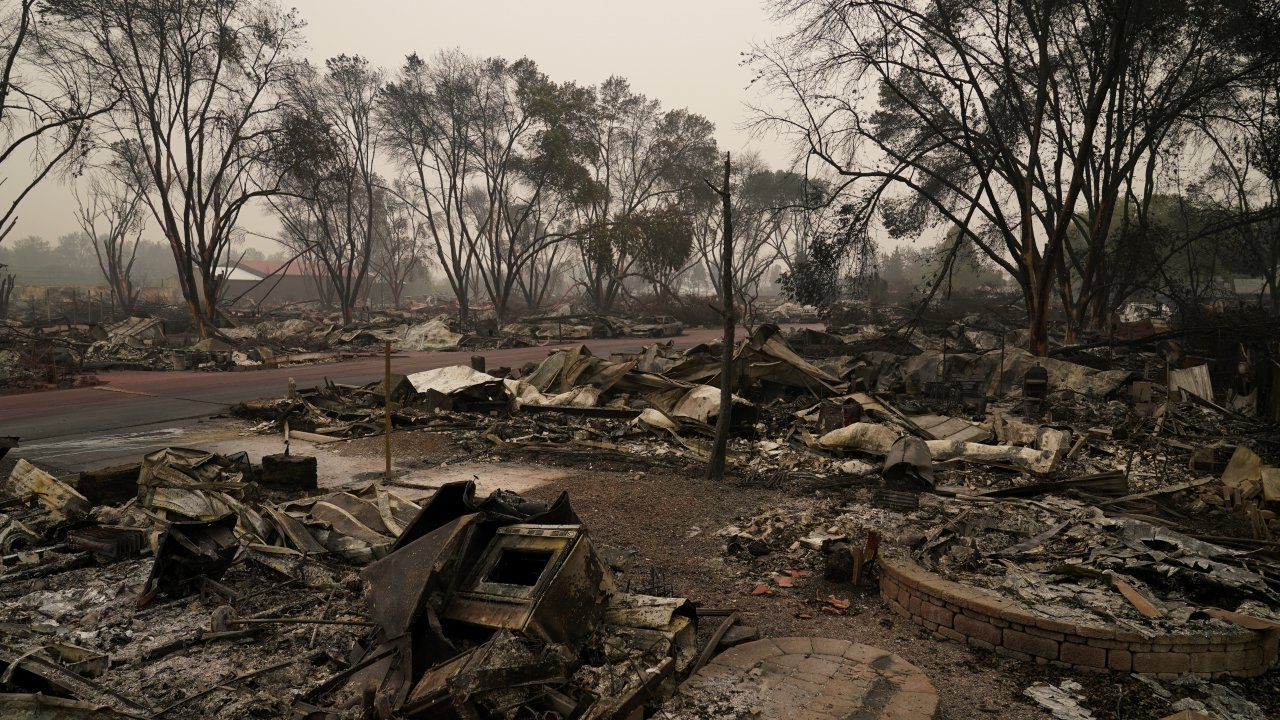 Rubble remains from an area destroyed by the Almeda Fire, Friday, Sept. 11, 2020, in Talent, Ore.