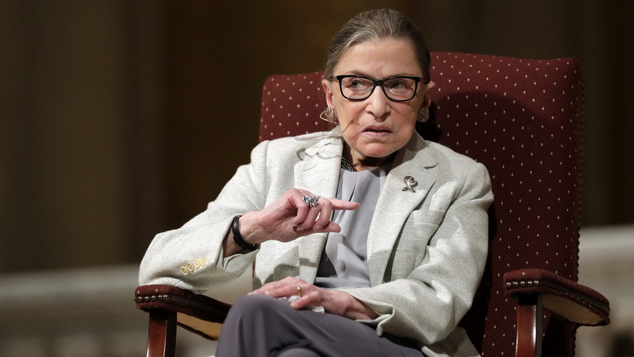 Supreme Court Justice Ruth Bader Ginsburg speaks at Stanford University in Stanford, Calif.