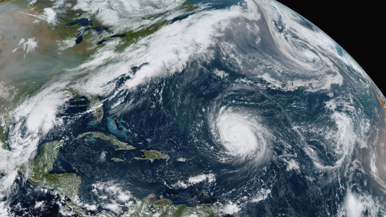 Satellite image of several systems in the Atlantic Ocean
