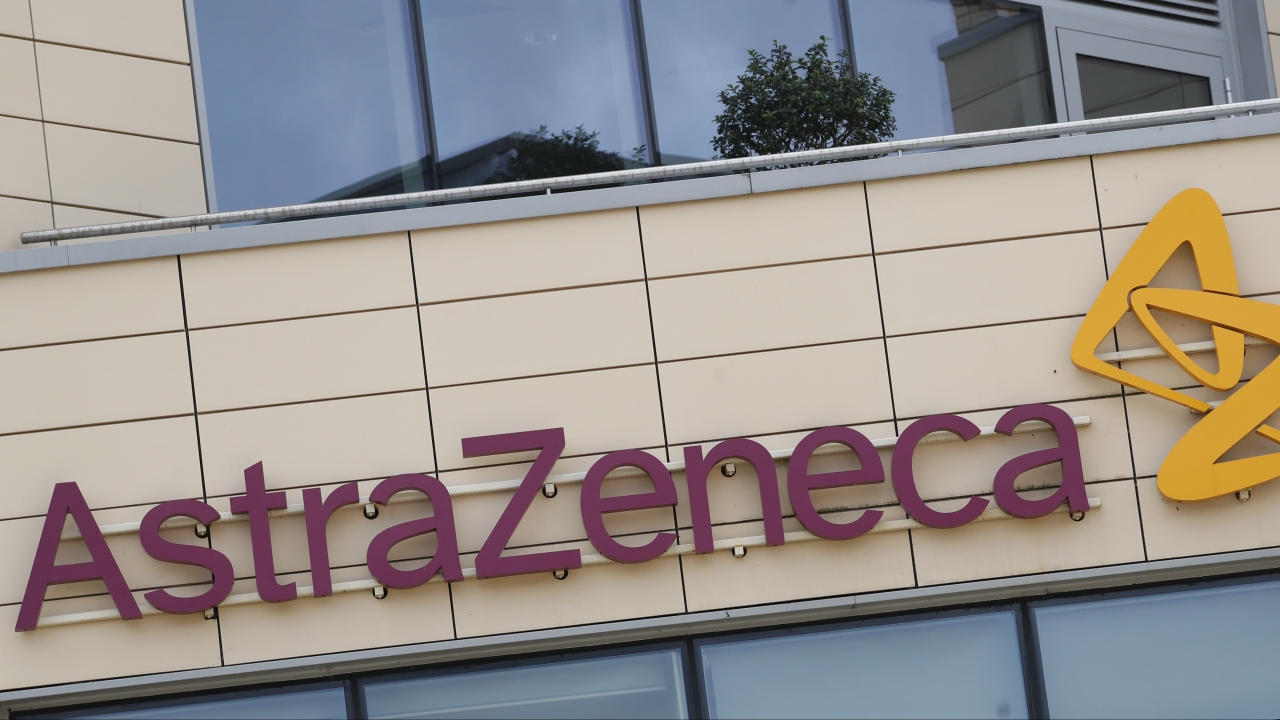 The AstraZeneca offices and the corporate logo in Cambridge, England.