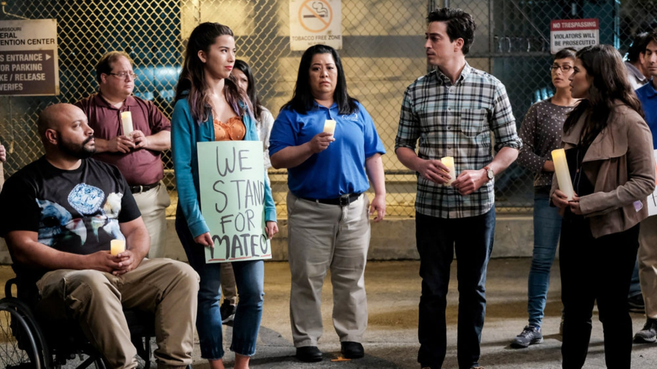 """Characters from """"Superstore"""" protest in support of undocumented employee."""