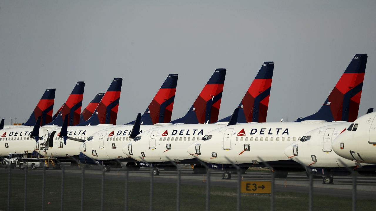 Delta Airlines jets parked at Kansas City International Airport in April.