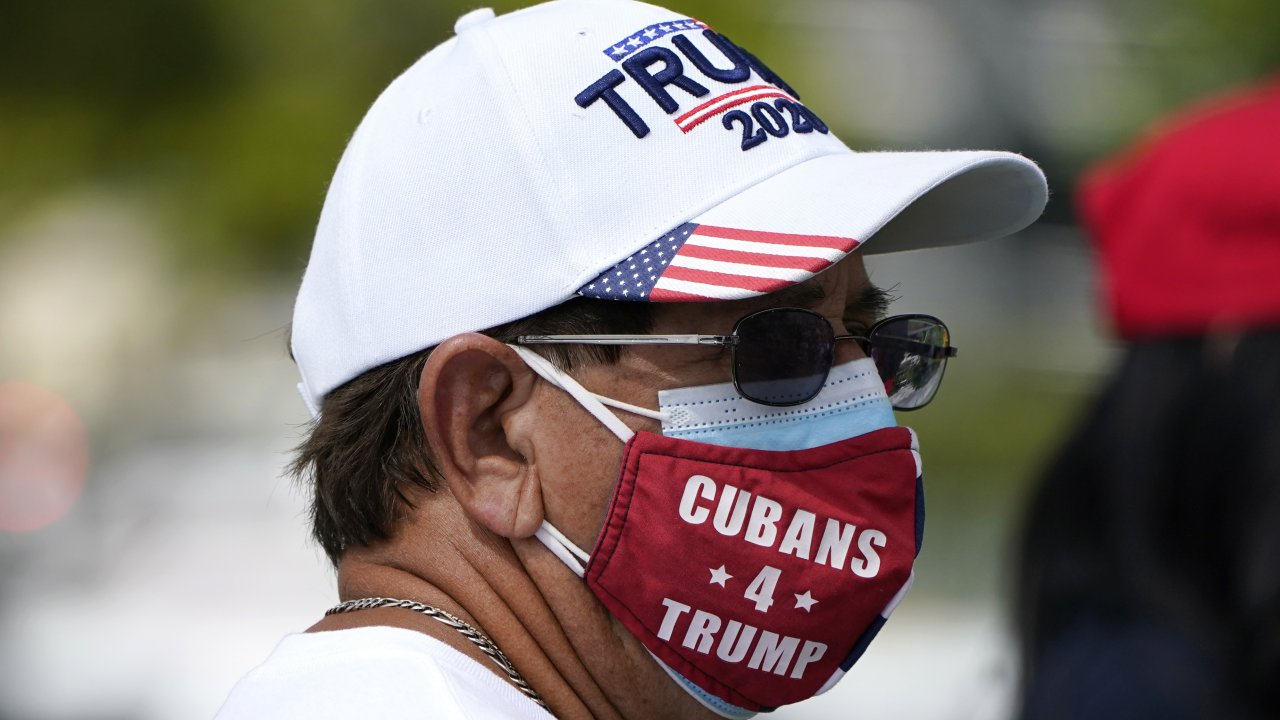 A Cuban man at campaign rally featuring Vice President Mike Pence at the Cuban Memorial Monument, Oct. 15, 2020, in Miami.