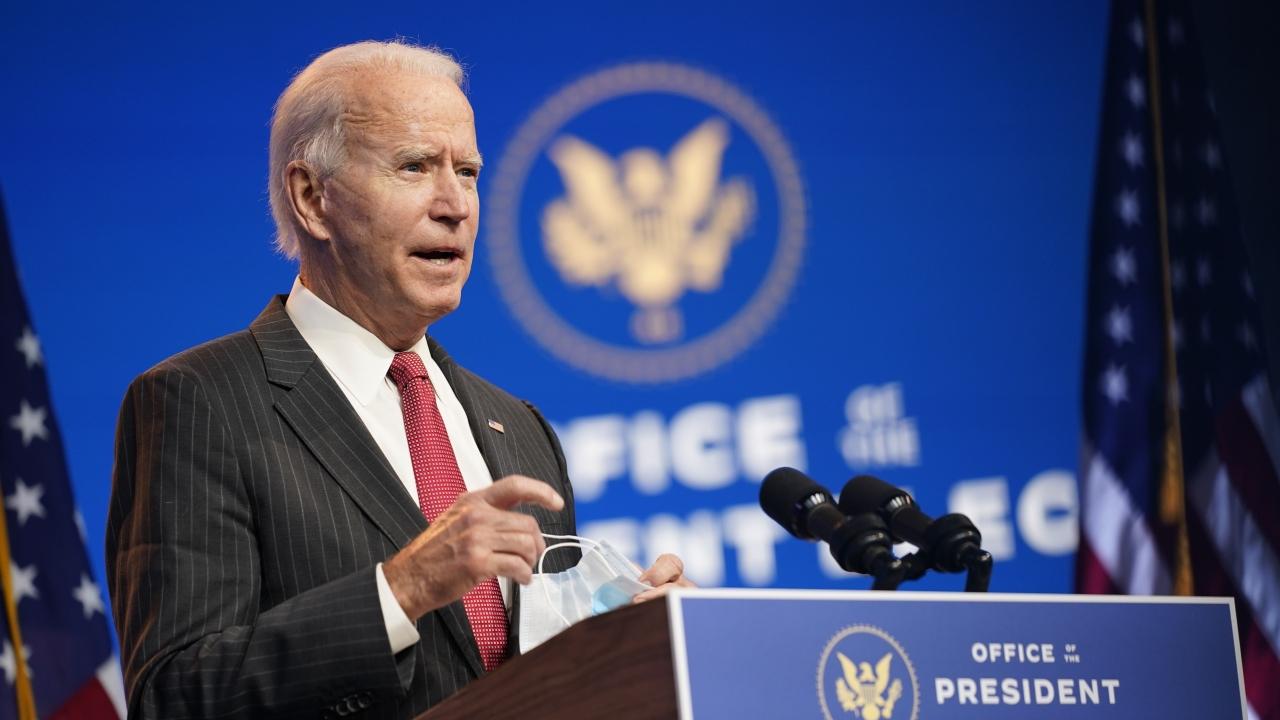 President-elect Joe Biden speaks at The Queen theater in Wilmington, Del. on Nov. 19, 2020.