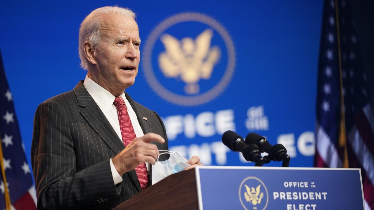 President-elect Joe Biden speaks at The Queen theater in Wilmington, Delaware