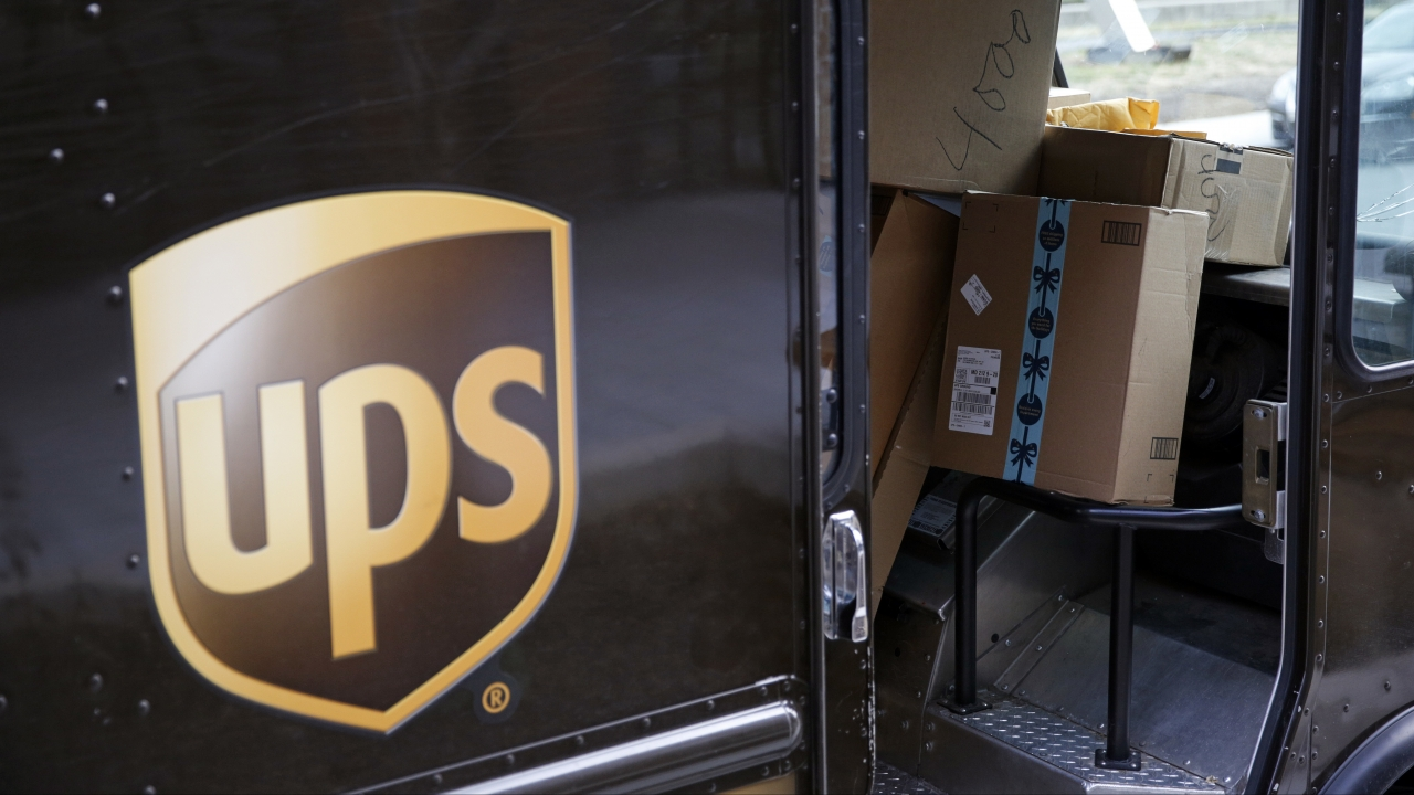 A UPS delivery truck