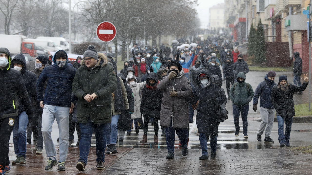 Protesters march in Belarus
