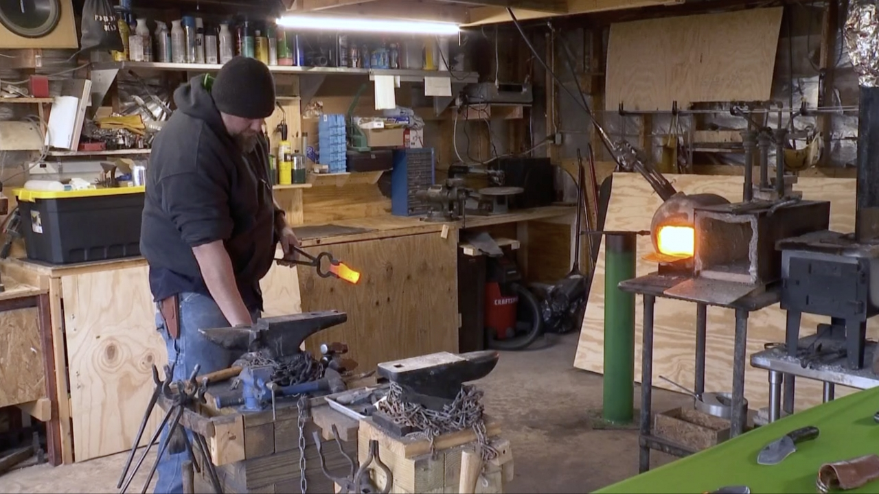 Man works in his garage