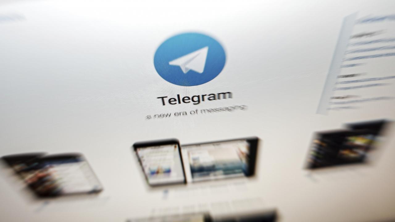 The interface of Telegram's messaging app is seen on a computer screen