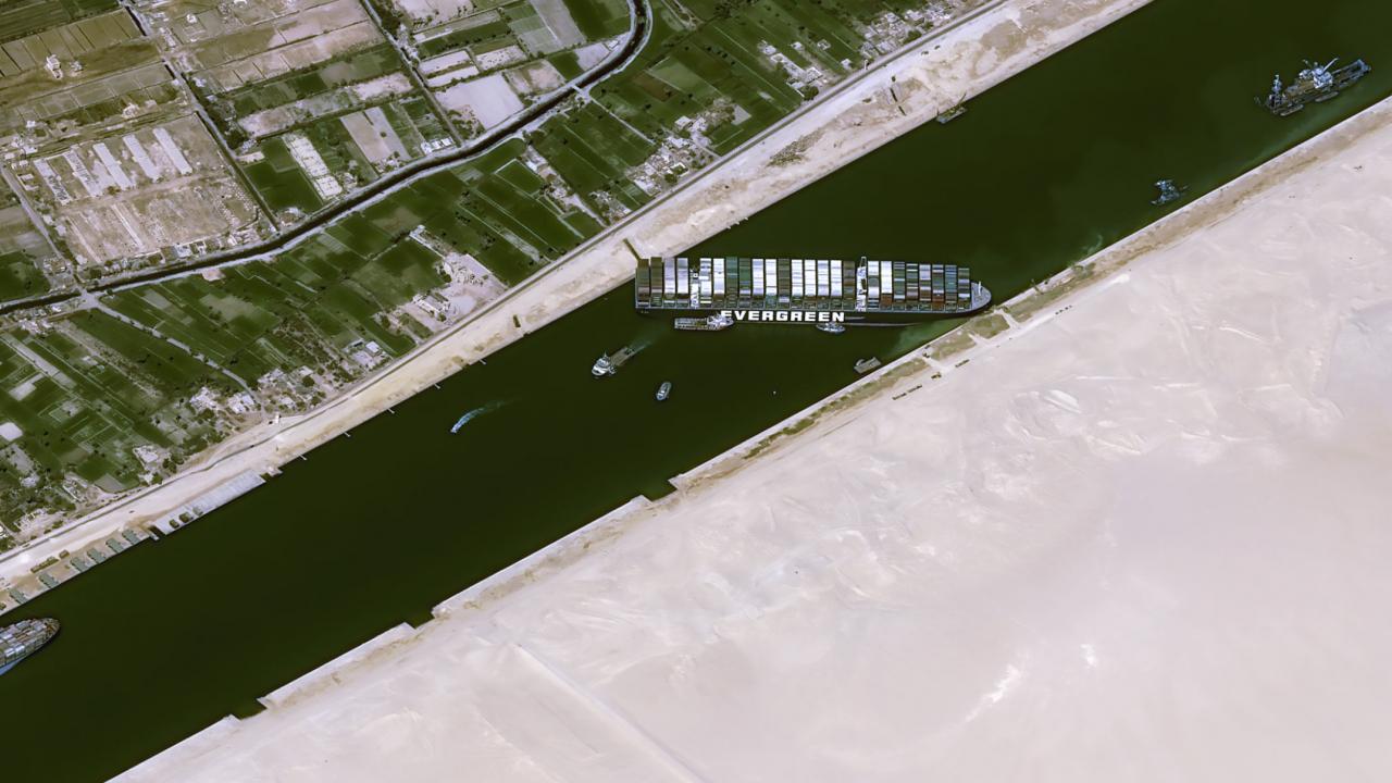 The cargo ship MV Ever Given stuck in the Suez Canal near Suez, Egypt.