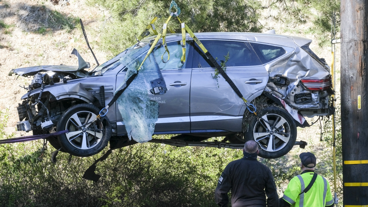 Tiger Woods SUV following a rollover accident in Los Angeles, California.