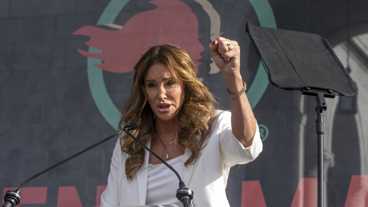 Transgender rights activist Caitlyn Jenner speaks at the 4th Women's March in Los Angeles.