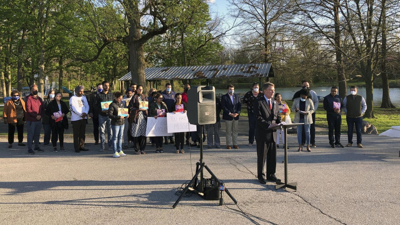 Indianapolis Mayor Joe Hogarth speaks at a vigil Saturday to memorialize the eight killed in the mass shooting there.