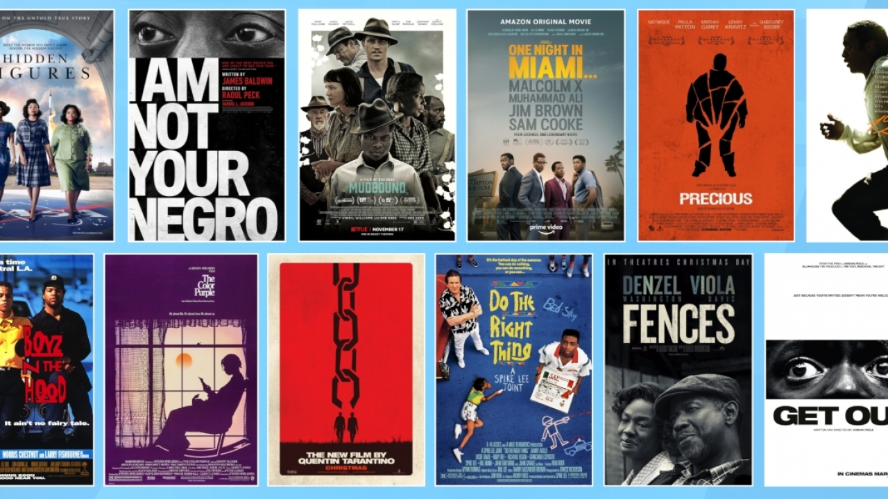 Collage of posters for Black-led films