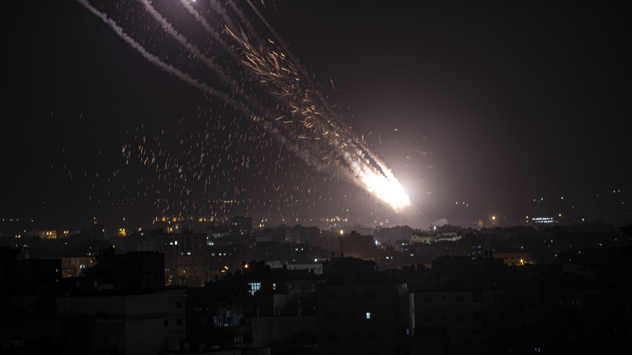 Rockets are launched from the Gaza Strip toward Israel
