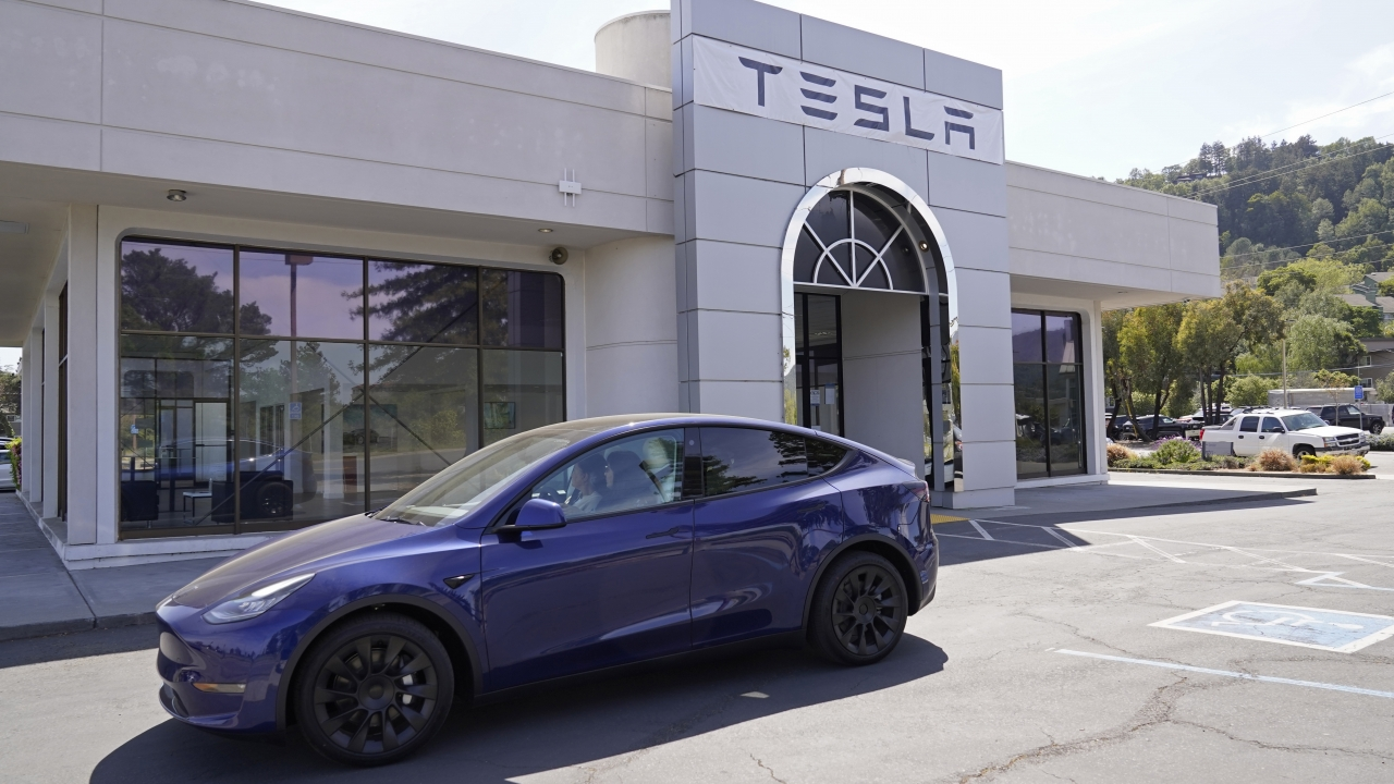 A Tesla delivery location and service center in California