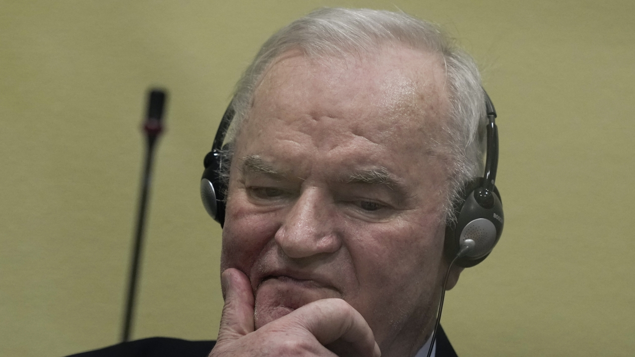 Former Bosnian Serb military chief Ratko Mladic sits in the court room in The Hague, Netherlands, Tuesday, June 8, 2021.