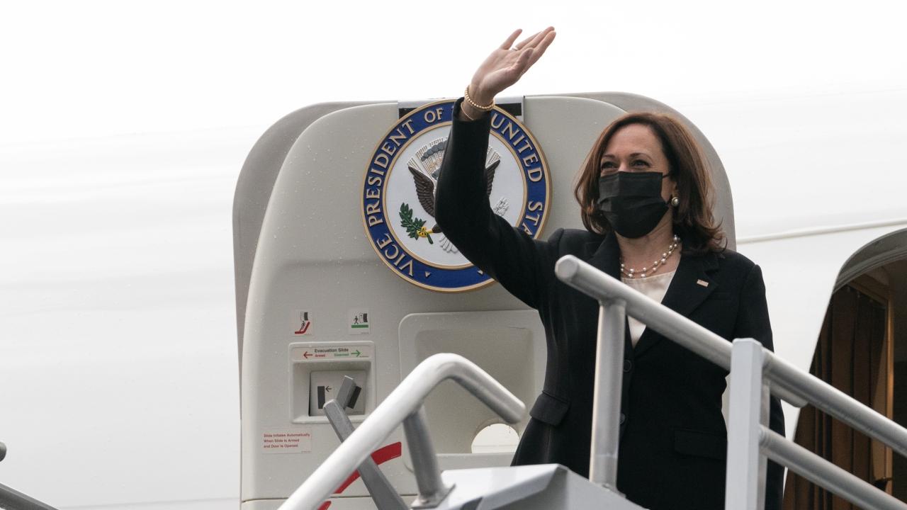 Vice President Kamala Harris boards Air Force Two