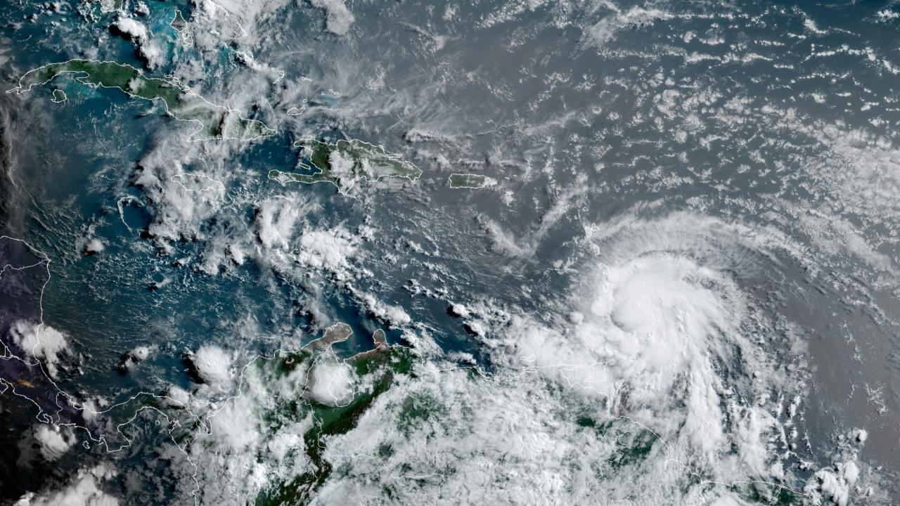 View of Hurricane Elsa in the Atlantic Ocean.