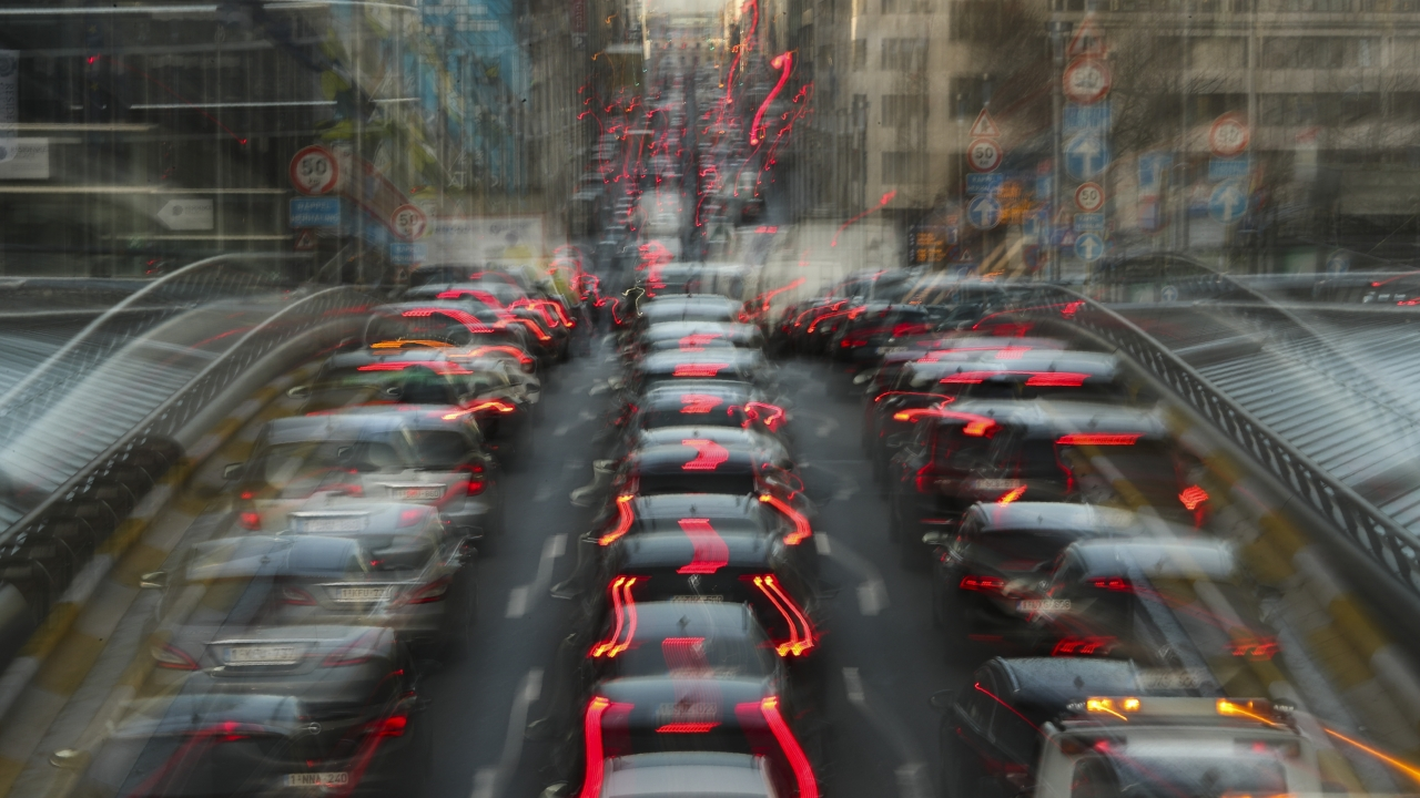 Commuters wait in traffic during the morning rush hour in Brussels.