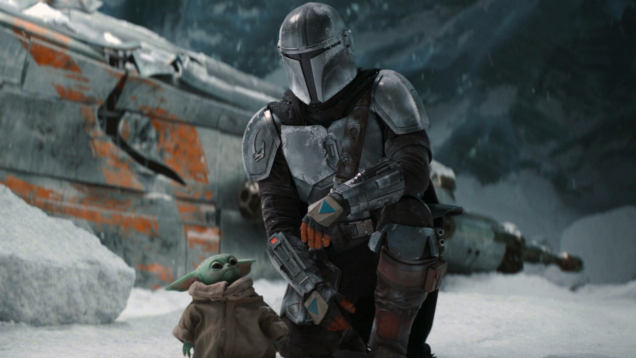 """This image released by Disney+ shows Pedro Pascal in a scene from """"The Mandalorian."""""""