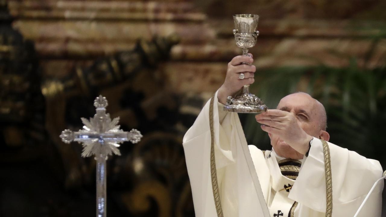 Pope Francis celebrates a Chrism Mass inside St. Peter's Basilica