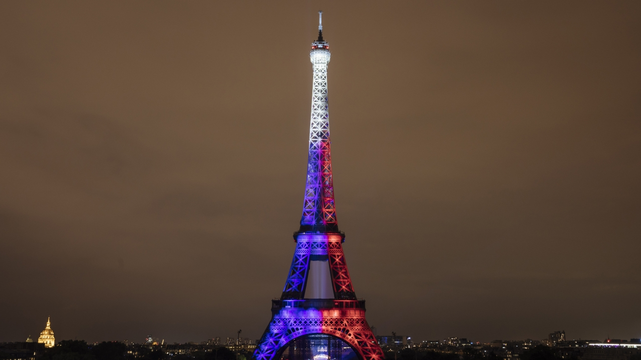 The Eiffel Tower in Paris during Bastille Day celebrations.