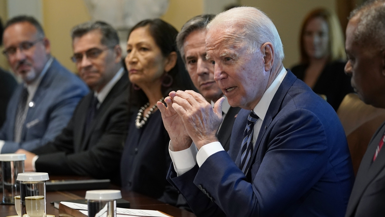 President Joe Biden speaks during a meeting with his Cabinet in the Cabinet Room