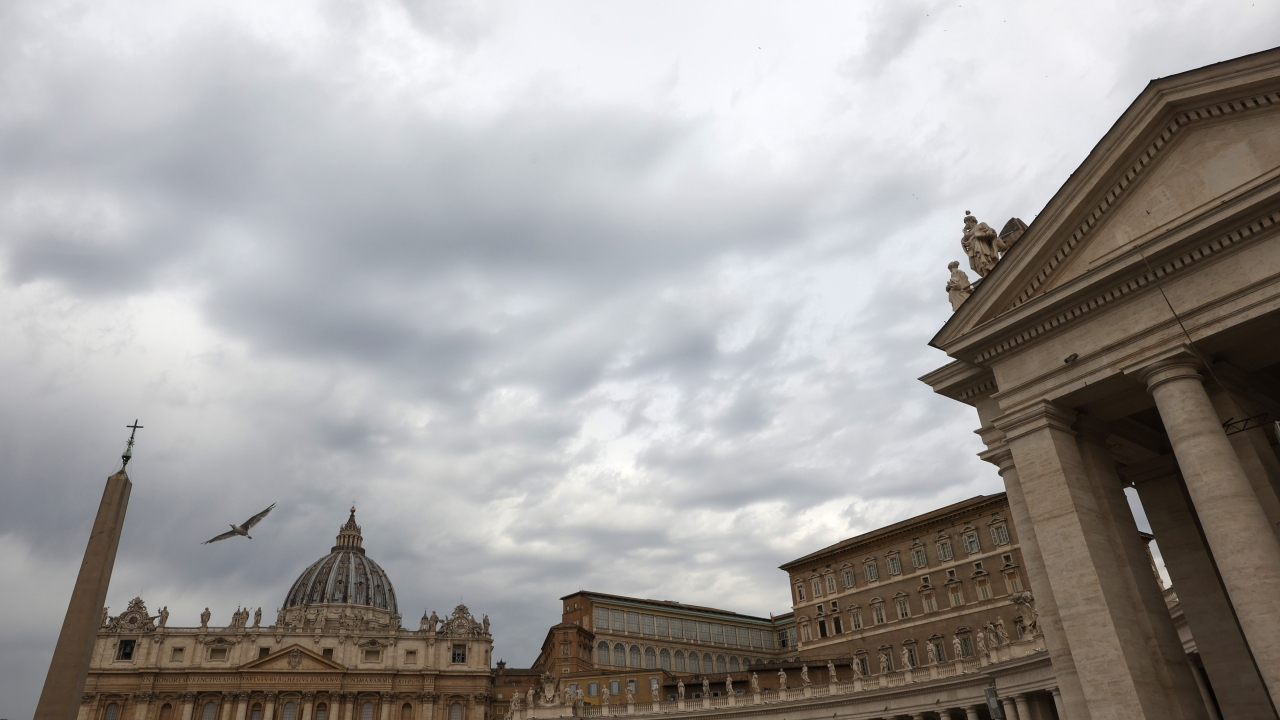 The sky above St. Peter's Square at the Vatican,