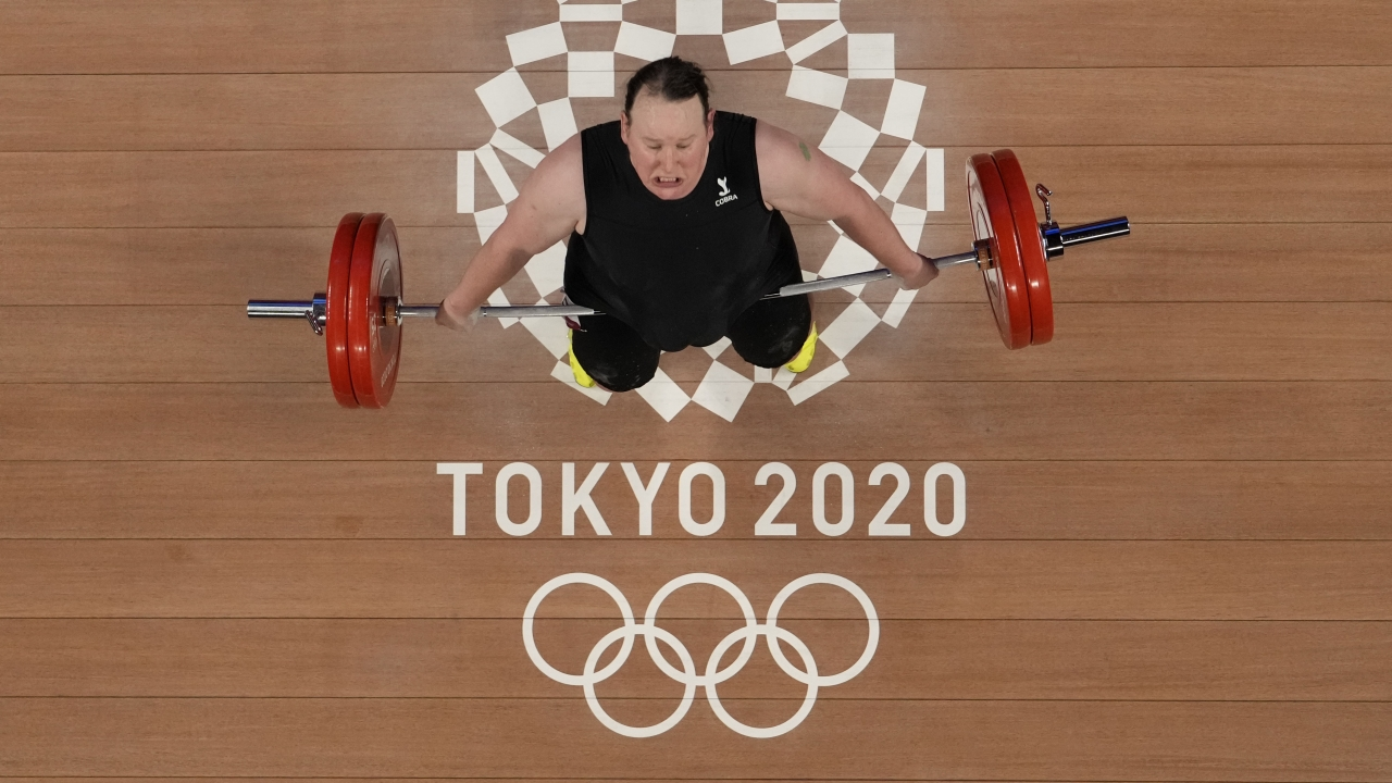 Laurel Hubbard of New Zealand competes in the women's +87kg weightlifting