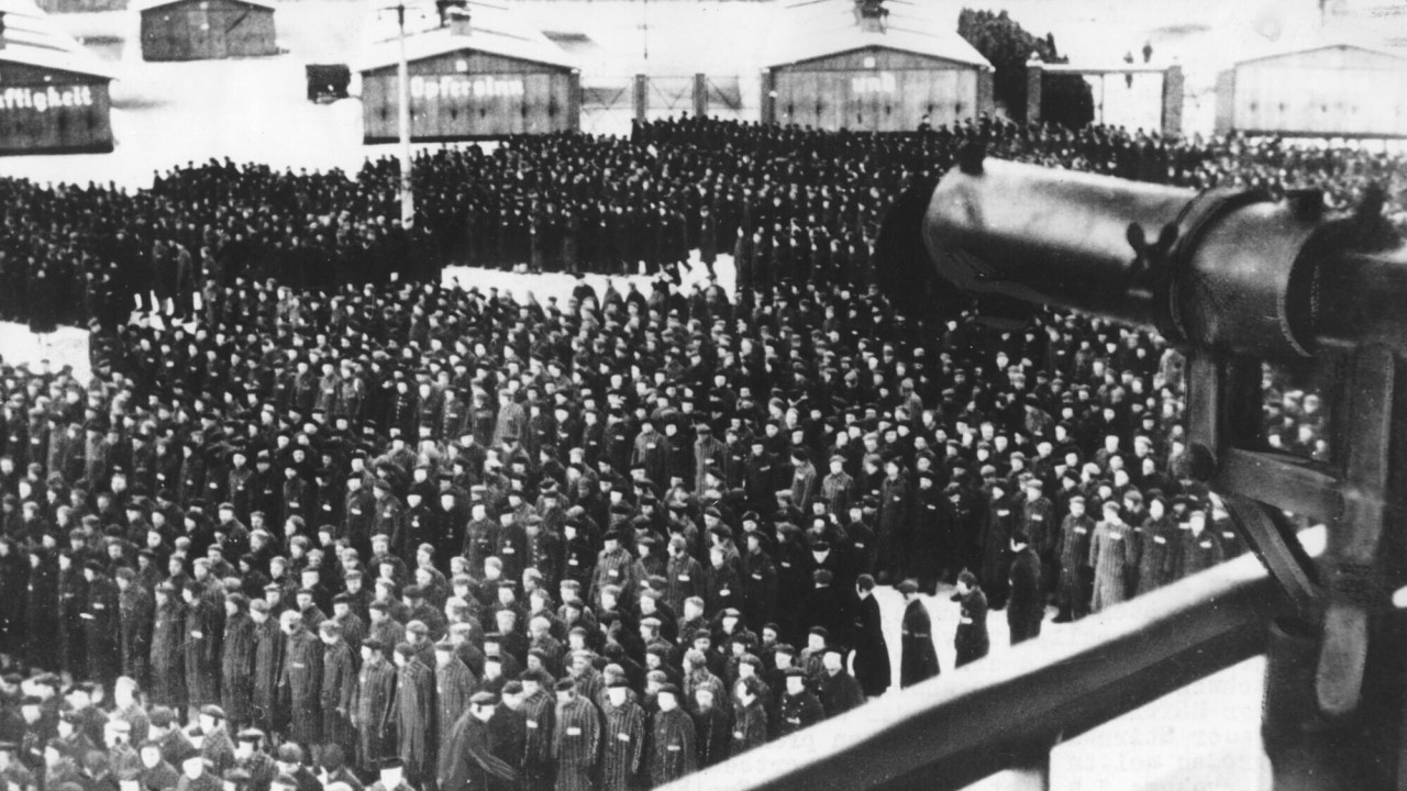 A roll call on the roll call square in front of the camp gate of the Nazi concentration camp Sachsenhausen.