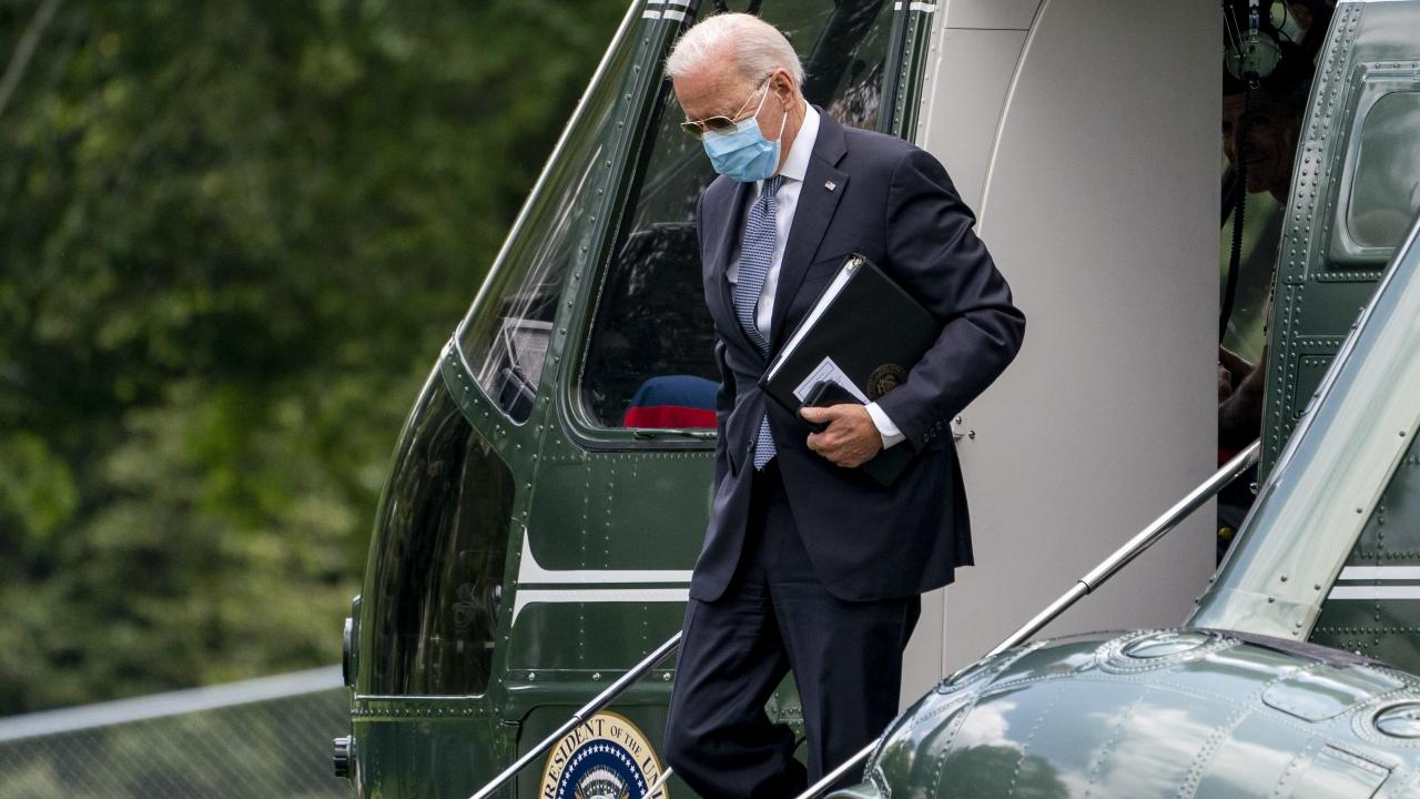 President Joe Biden arrives at the White House