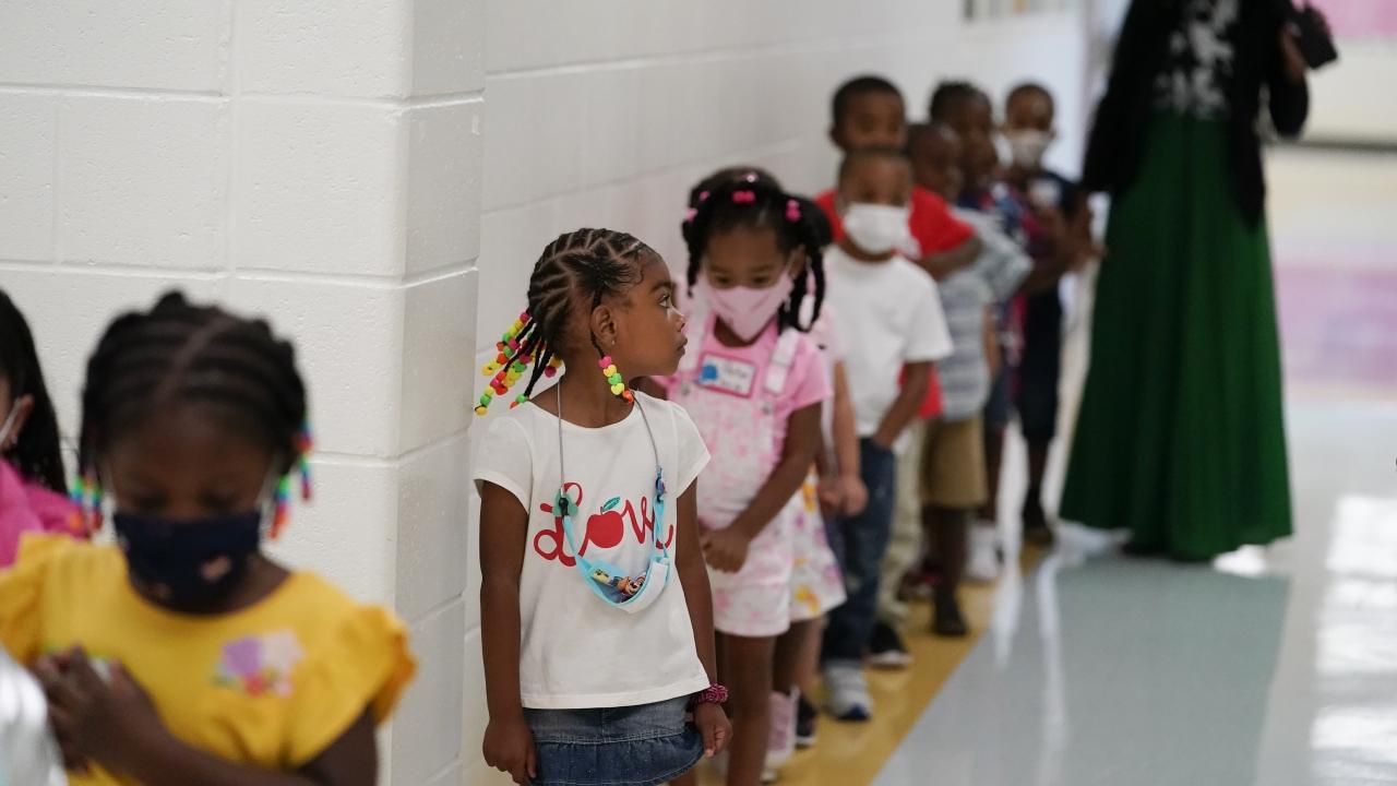 Students walk down the hallway at Tussahaw Elementary school in McDonough, Georgia.