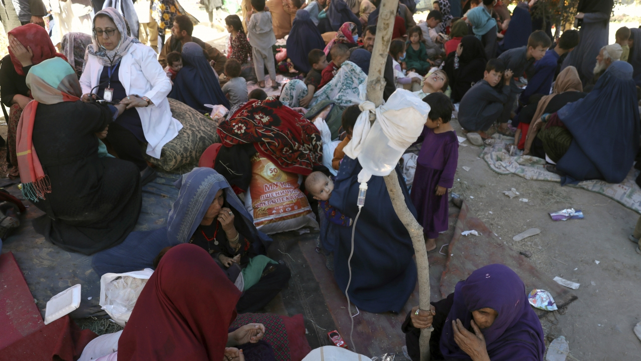 Internally displaced Afghan women and children in Kabul, Afghanistan.