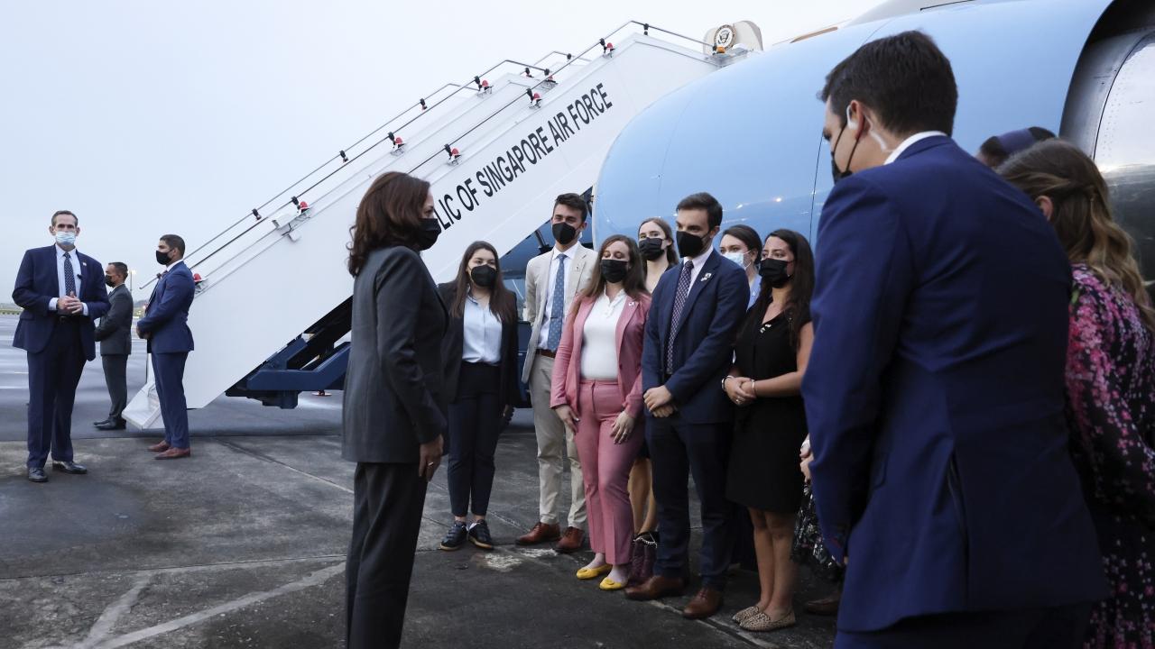 U.S. Vice President Kamala Harris departs Singapore for Vietnam.