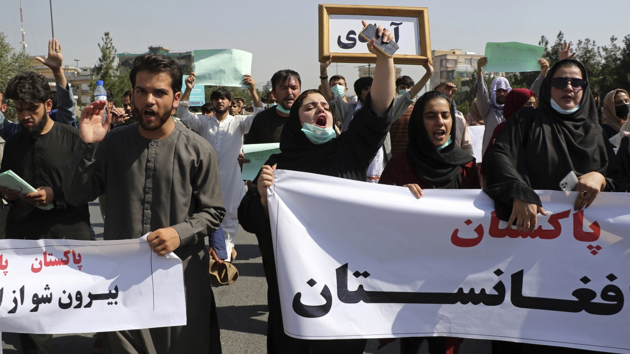 Afghans shout slogans during an anti-Pakistan demonstration, near the Pakistan embassy in Kabul, Afghanistan.