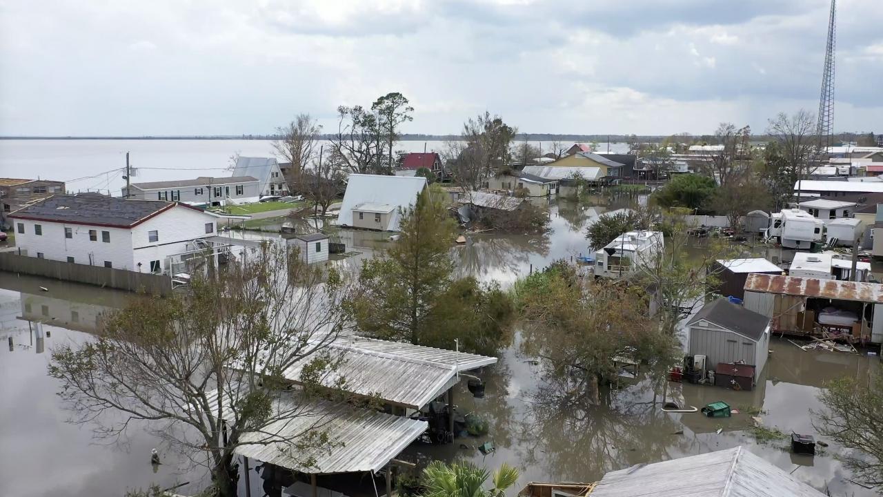 Flooded properties in Louisiana following Hurricane Ida.