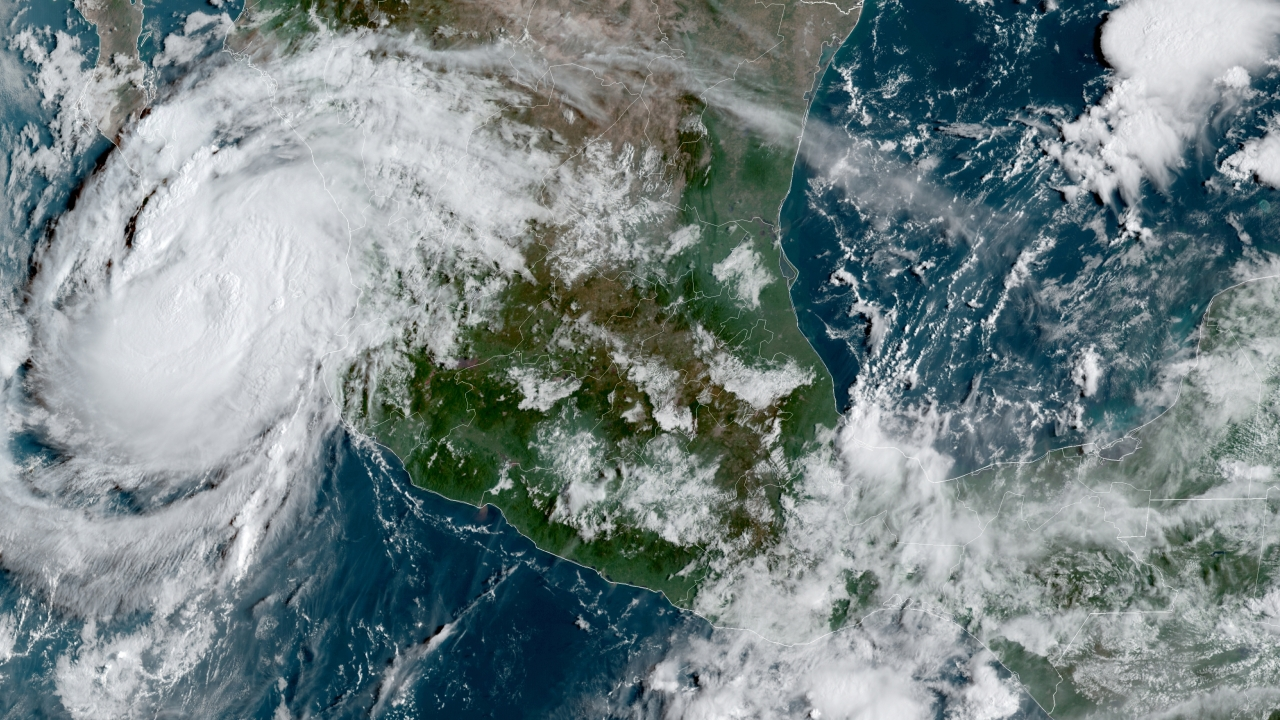 NOAA satellite image shows Hurricane Olaf on the Pacific coast of Mexico approaching the Los Cabos resort region.