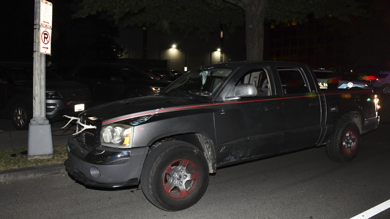 A man's vehicle is shown after U.S. Capitol Police arrested him.