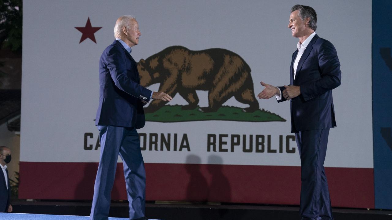 President Joe Biden arrives at a get out the vote rally for Gov. Gavin Newsom.