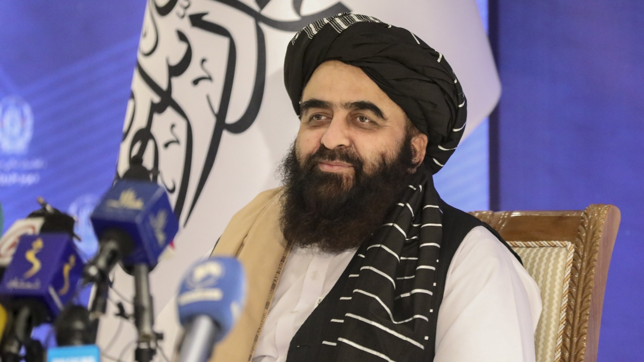 The foreign minister in Afghanistan's new Taliban-run Cabinet, Amir Khan Muttaqi, gives a press conference in Kabul.