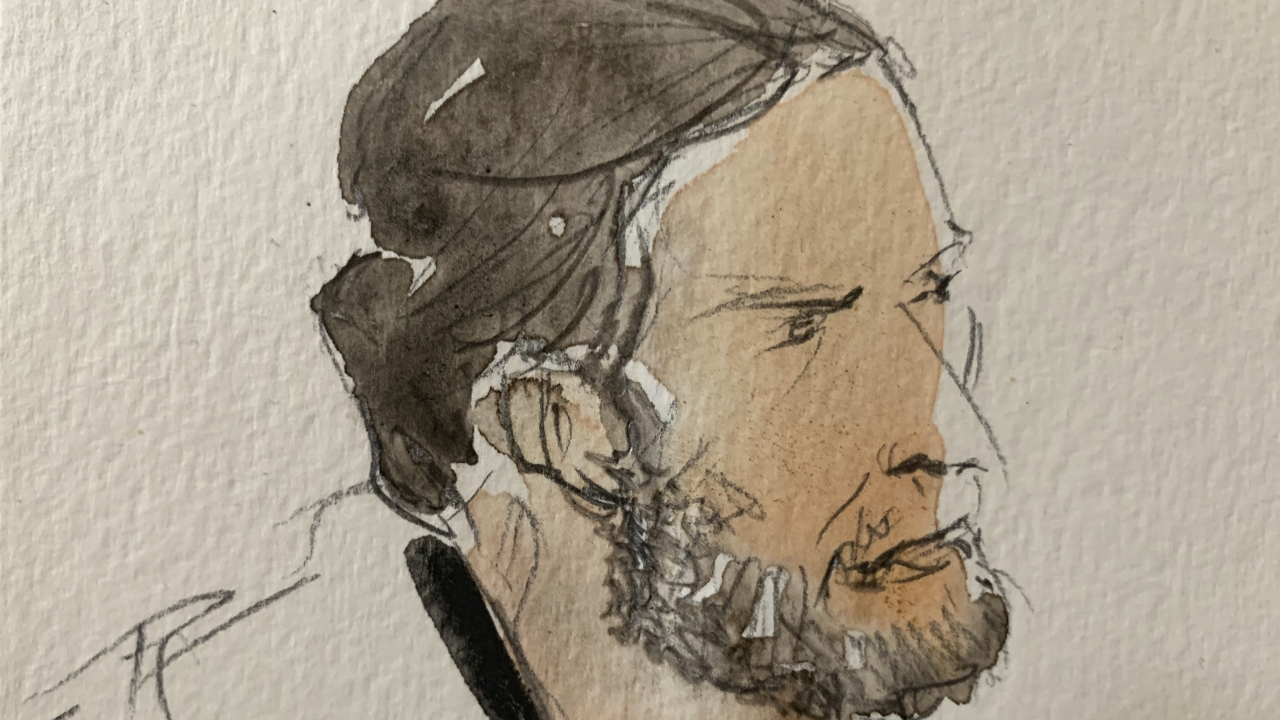 This courtroom sketch shows key defendant Salah Abdeslam, in the special courtroom built for the 2015