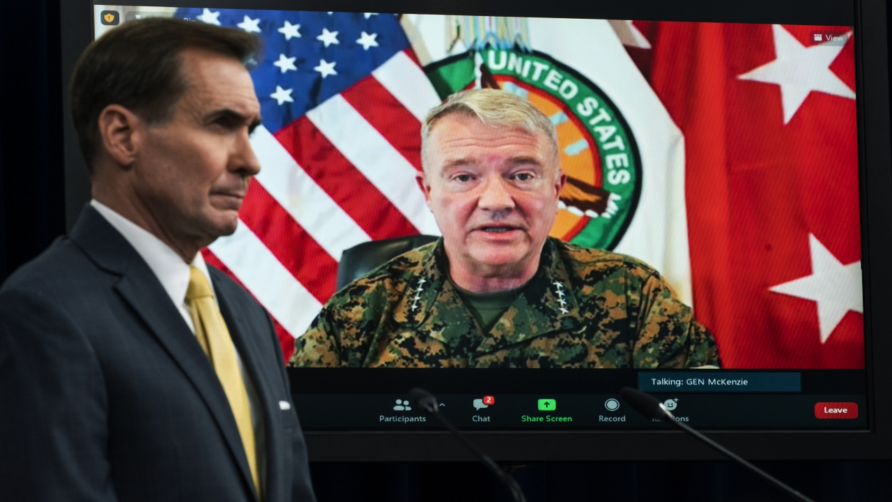 Gen. Frank McKenzie, Commander of U.S. Central Command, appears on screen as he speaks from MacDill Air Force Base, in Tampa.